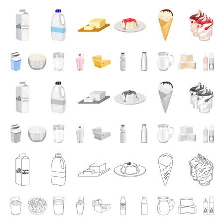 Productos lácteos, dibujos animados, iconos de colección set de diseño. Ilustración de stock de símbolo de vector de leche y alimentos.