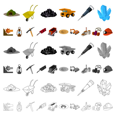 Mining industry cartoon icons in set collection for design. Equipment and tools vector symbol stock illustration. Vektoros illusztráció
