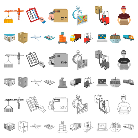 Logistics and delivery cartoon icons in set collection for design. Transport and equipment isometric vector symbol stock  illustration.