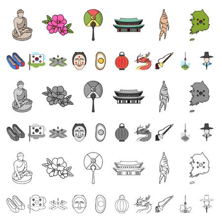 País, Corea del sur, caricatura, iconos, en, conjunto, colección, para, design., Viaje, y, atracción, vector, símbolo, acción, illustration.