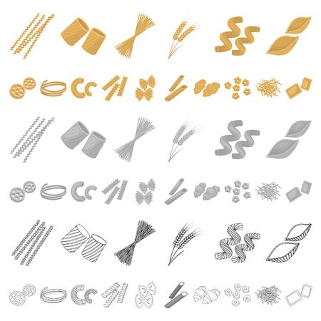 Tipi di pasta cartoon icone nella raccolta di set per il design. Maccheroni figurati per mangiare illustrazione vettoriale simbolo d'archivio web.