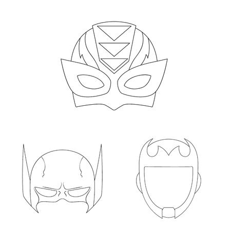 Vector design of hero and mask symbol. Collection of hero and superhero stock symbol for web.