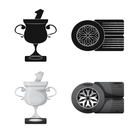 Vector illustration of car and rally icon. Collection of car and race stock symbol for web. Illustration
