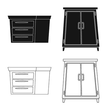 Vector illustration of furniture and apartment sign. Set of furniture and home stock vector illustration. Illusztráció