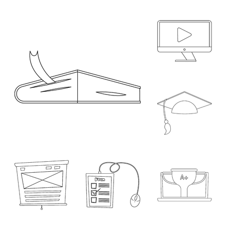 Vector design of education and learning sign. Set of education and school vector icon for stock. Иллюстрация