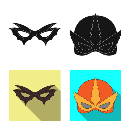 Isolated object of hero and mask icon. Set of hero and superhero stock vector illustration. Illustration
