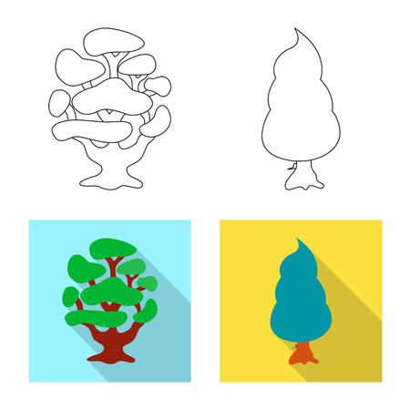 Vector illustration of tree and nature sign. Set of tree and crown vector icon for stock.