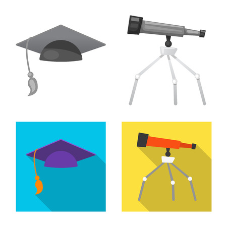 Vector illustration of education and learning symbol. Set of education and school vector icon for stock.