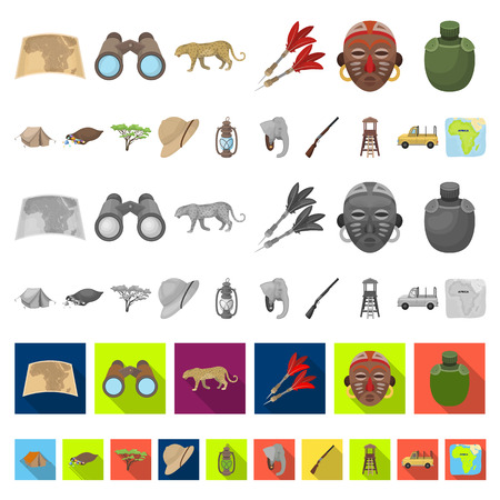 African Safari cartoon icons in set collection for design. Trophies and equipment for Safari vector symbol stock  illustration. Stock Illustratie