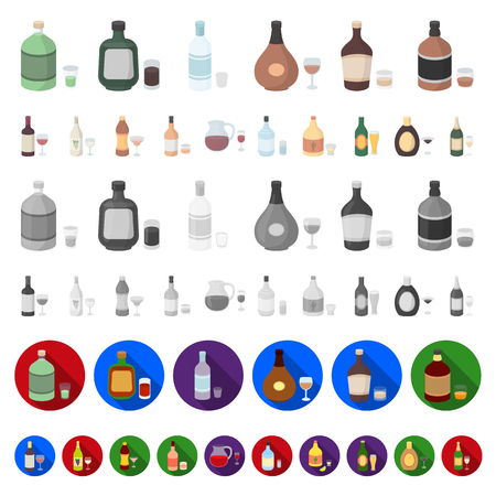 Types of alcohol cartoon icons in set collection for design. Alcohol in bottles vector symbol stock  illustration.  イラスト・ベクター素材