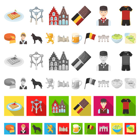 Country Belgium cartoon icons in set collection for design.Travel and attractions Belgium vector symbol stock  illustration.  イラスト・ベクター素材