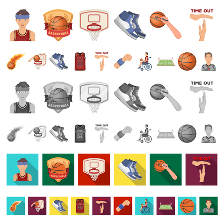 Basketball and attributes cartoon icons in set collection for design.Basketball player and equipment vector symbol stock illustration.