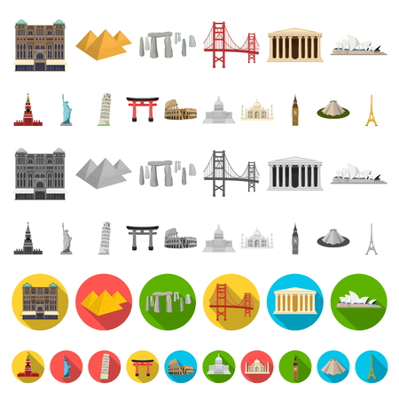 Sights of different countries cartoon icons in set collection for design. Famous building vector symbol stock  illustration. 일러스트