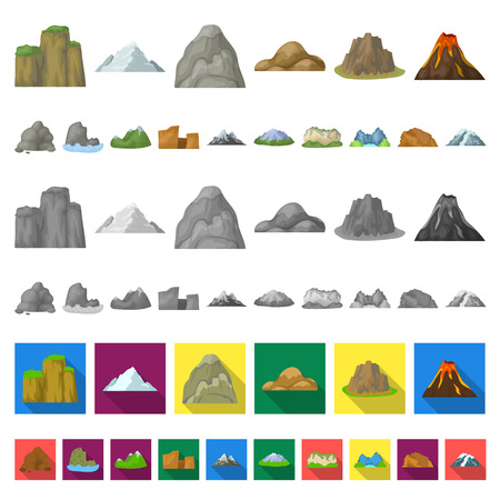 Different mountains cartoon icons in set collection for design.Mountains and landscape vector symbol stock web illustration. Vectores