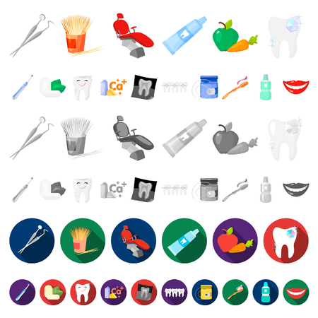 Dental care cartoon icons in set collection for design. Care of teeth vector symbol stock web illustration. Vettoriali
