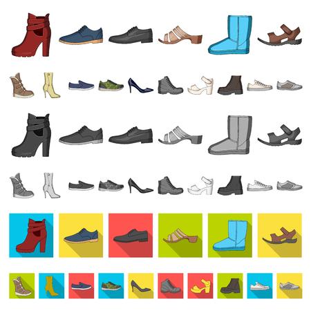 Icone del fumetto di scarpe diverse nella raccolta di set per il design. Scarpe da uomo e da donna simbolo d'archivio web illustrazione di vettore.