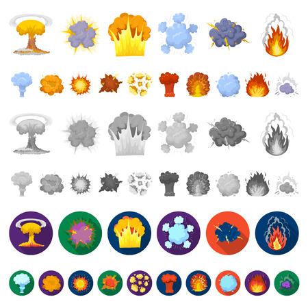 Diferentes explosiones de dibujos animados iconos de colección set de diseño.Flash y llama vector símbolo stock web ilustración.