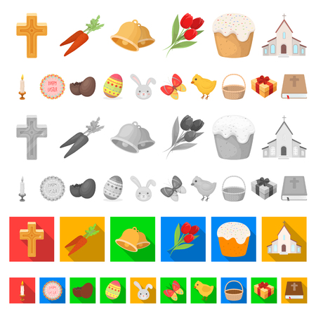 Easter is a Christian holiday cartoon icons in set collection for design. Easter attributes vector symbol stock web illustration.