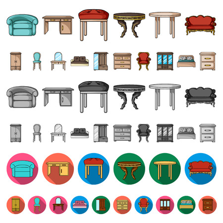 Furniture and interior cartoon icons in set collection for design.Home furniture vector symbol stock  illustration.