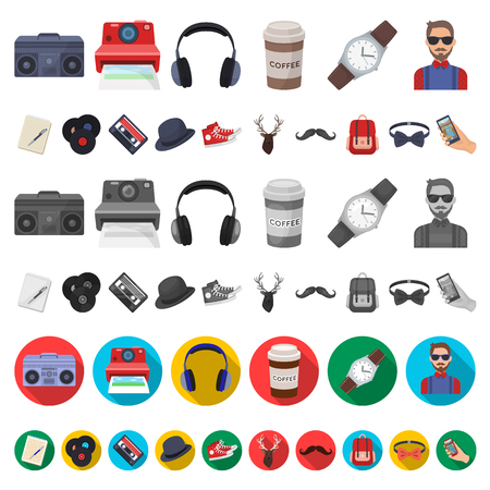 Style Hipster cartoon icons in set collection for design. Hipster Attributes and accessories vector symbol stock illustration. Vektoros illusztráció