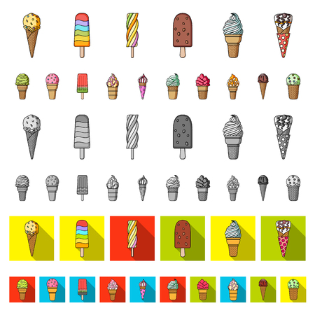 Different ice cream cartoon icons in set collection for design. Dessert and sweetness vector symbol stock  illustration.