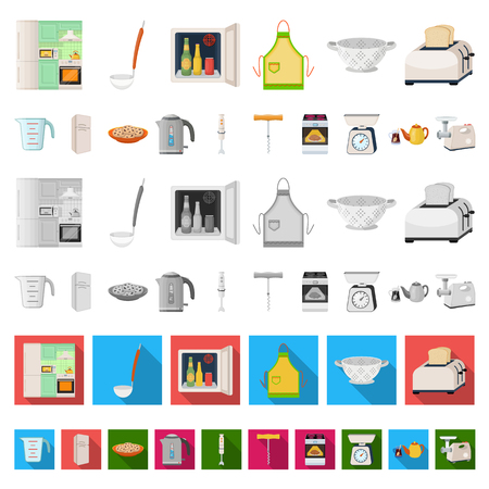Kitchen equipment cartoon icons in set collection for design. Kitchen and accessories vector symbol stock  illustration. Illustration