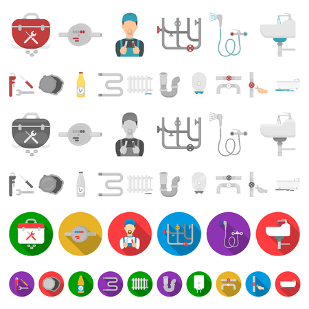 Plumbing, fitting cartoon icons in set collection for design. Equipment and tools vector symbol stock  illustration. Illustration