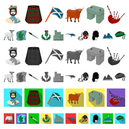 Country Scotland cartoon icons in set collection for design. Sightseeing, culture and tradition vector symbol stock  illustration. Illusztráció