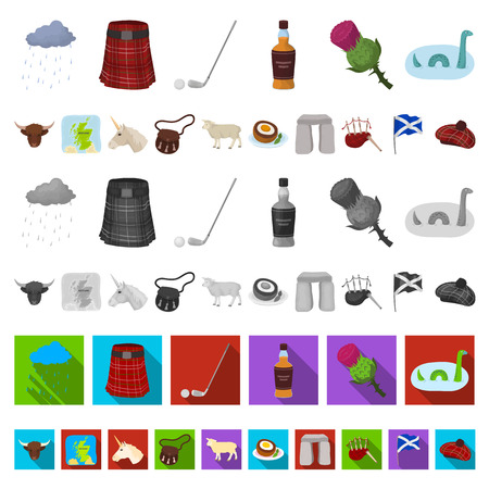 Country Scotland cartoon icons in set collection for design. Sightseeing, culture and tradition vector symbol stock  illustration. Illustration