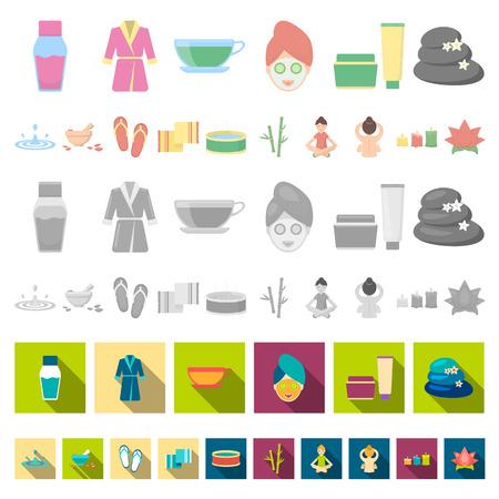 Icônes de dessin animé de salon et d'équipement de spa dans la collection de jeu pour la conception. Détente et repos vector illustration stock symbole.
