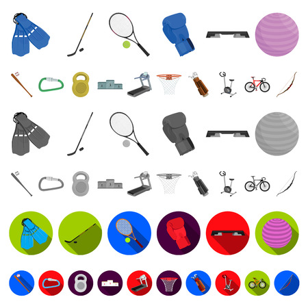 Different kinds of sports cartoon icons in set collection for design. Sport equipment vector symbol stock  illustration. Illustration