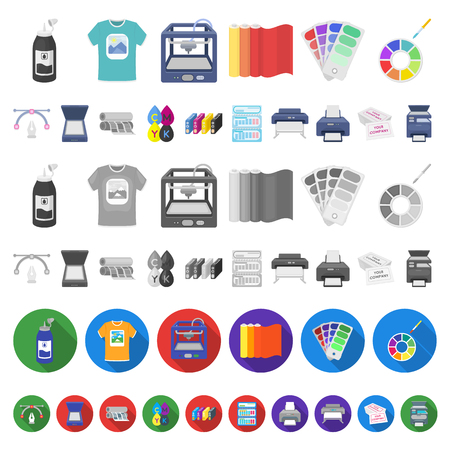Typographical products cartoon icons in set collection for design. Printing and equipment vector symbol stock  illustration. Ilustração