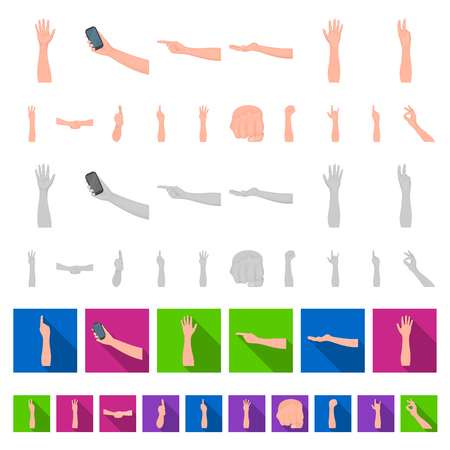 Gestures and their meaning cartoon icons in set collection for design.Emotional part of communication vector symbol stock web illustration.