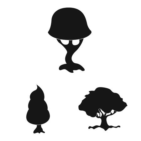 Vector design of tree and nature symbol. Collection of tree and crown stock vector illustration. Vettoriali