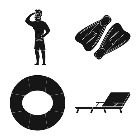 Vector illustration of pool and swimming sign. Collection of pool and activity stock vector illustration. Illustration