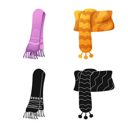 Isolated object of scarf and shawl logo. Set of scarf and accessory stock vector illustration.  イラスト・ベクター素材