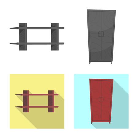 Vector illustration of furniture and apartment icon. Set of furniture and home vector icon for stock. Illusztráció