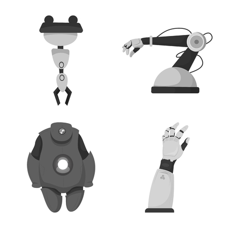 Vector illustration of robot and factory symbol. Collection of robot and space stock symbol for web.