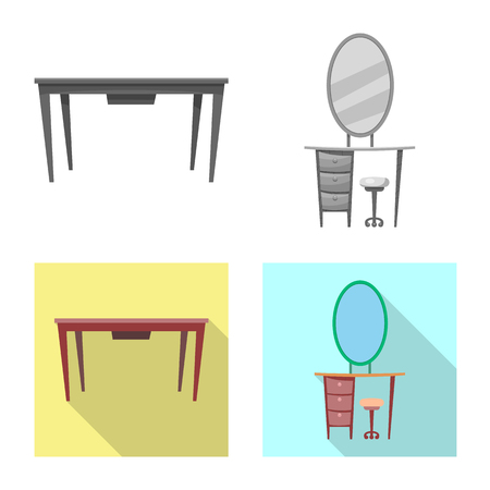 Isolated object of furniture and apartment icon. Collection of furniture and home vector icon for stock. Stock Illustratie