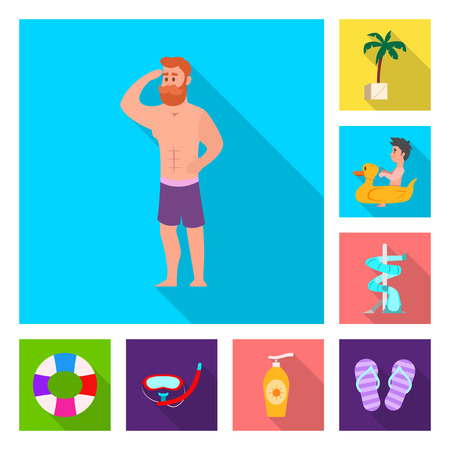 Isolated object of pool and swimming symbol. Collection of pool and activity vector icon for stock.