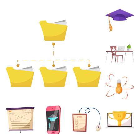 Isolated object of education and learning logo. Collection of education and school stock symbol for web.