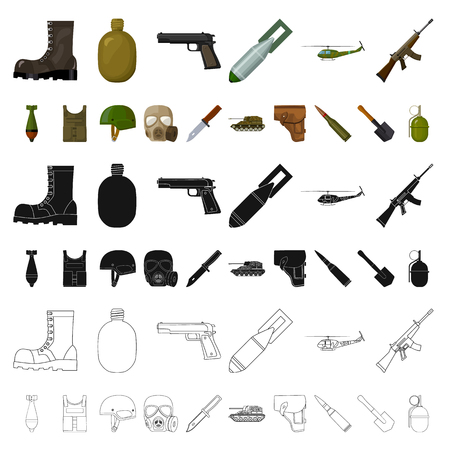 Army and armament cartoon icons in set collection for design. Weapons and equipment vector symbol stock  illustration.