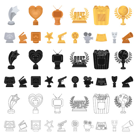 Film awards and prizes cartoon icons in set collection for design. The World Film Academy vector symbol stock  illustration.