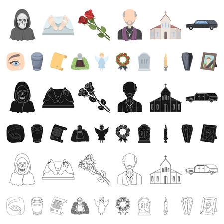 Karikaturikonen der Trauerfeier in der Set-Sammlung für Design. Beerdigungen und Attribute Vektorsymbol Lager Illustration.