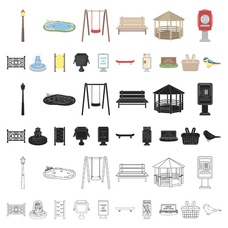 Park, equipment cartoon icons in set collection for design. Walking and rest vector symbol stock  illustration.