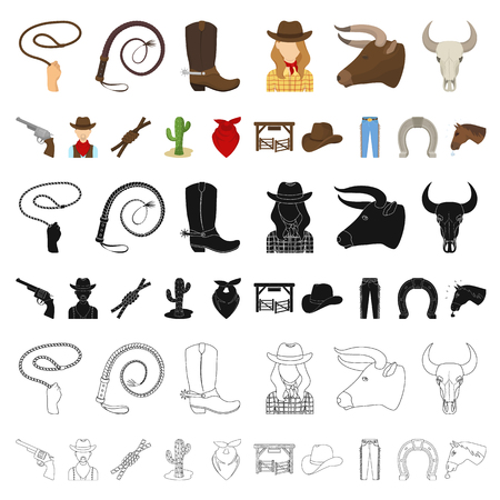 Rodeo, competition cartoon icons in set collection for design. Cowboy and equipment vector symbol stock  illustration. Stock Illustratie