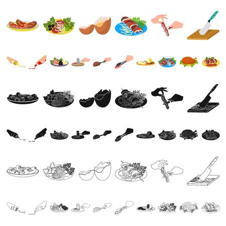 Cocinar los iconos de dibujos animados de alimentos de colección set de diseño. Cocina, equipo y herramientas vector símbolo stock de ilustración.