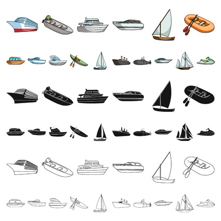 Water and sea transport cartoon icons in set collection for design. A variety of boats and ships vector symbol stock illustration.