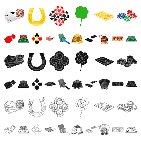 Casino and equipment cartoon icons in set collection for design. Gambling and money vector symbol stock  illustration. Stock Illustratie