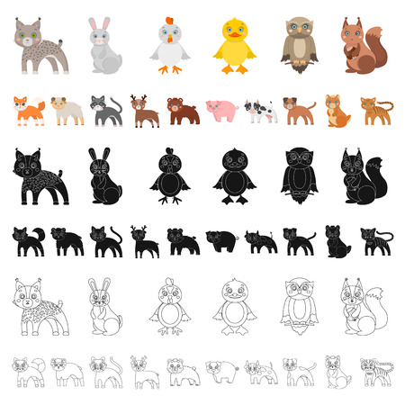 Toy animals cartoon icons in set collection for design. Bird, predator and herbivore vector symbol stock illustration.
